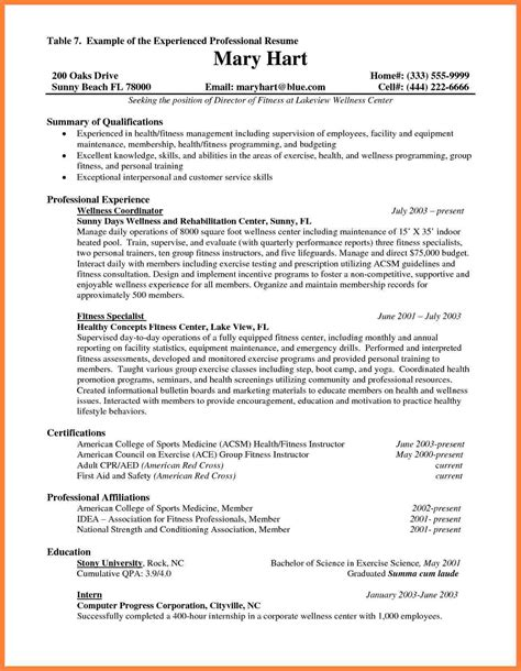 resume sles for experienced testing professionals 7 best resume format for experienced professionals