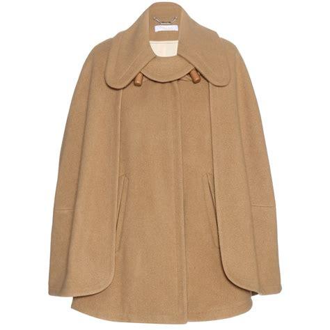wool blend cape coat lyst chlo 233 wool blend cape in natural