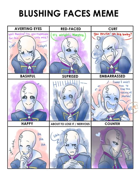 Blushing Memes - blushing face meme ub maestro gaster by flotts on deviantart