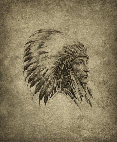 american indian chief pencil on paper slightly
