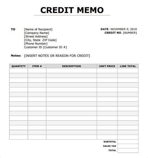 Credit List Template Sle Blank Memo 6 Documents In Pdf