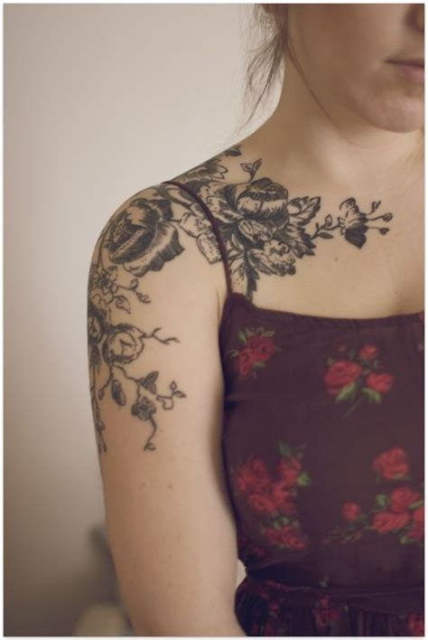 antique rose tattoo s and vine shoulder tattoos