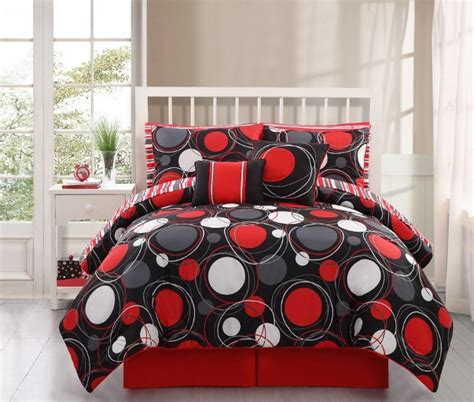 red comforter set twin 8 10pc black red circle design kid s comforter set twin