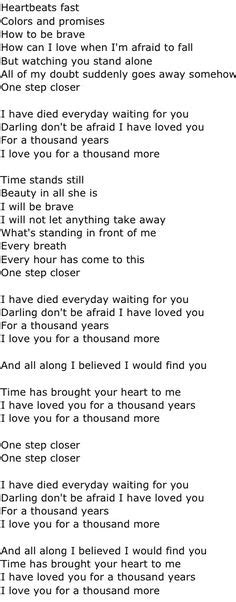 thousand years testo a thousand years on rascal flatts song lyrics