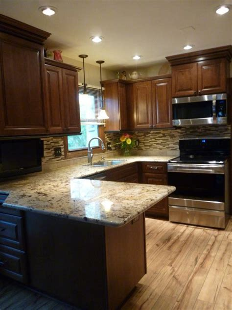 granite with cherry cabinets in kitchens kitchen makeover with cherry cabinets coffee color