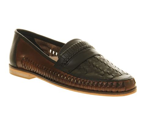 mens office stoke weave slip on navy leather casual