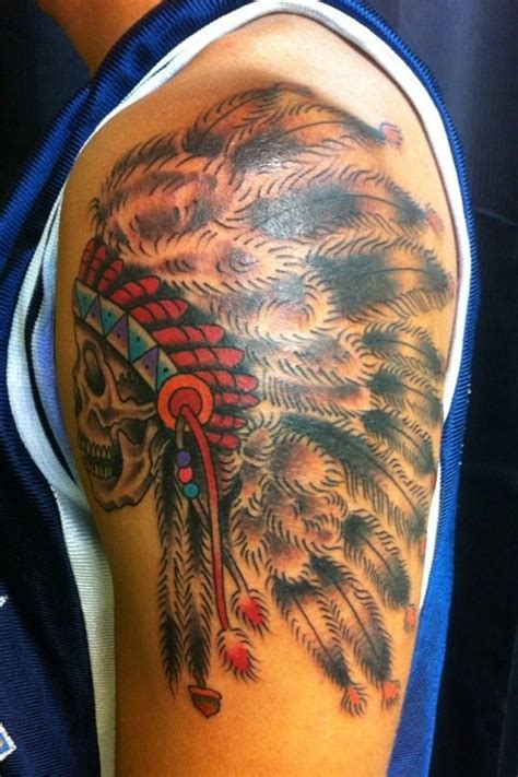 skull indian headdress tattooed by jp burns