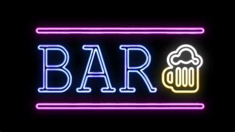 neon bar signs bar sign neon sign in retro style turning on stock footage videoblocks