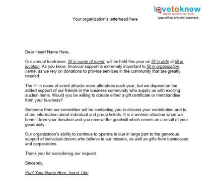 charity auction item donation letter sles of non profit fundraising letters lovetoknow