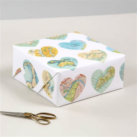 luxury gift wrapping paper map hearts print luxury gift wrapping paper by bombus
