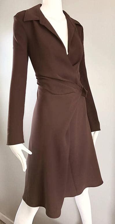 Maxmara Silk Choco max mara 1990s chocolate brown size 8 90s vintage flattering rayon wrap dress for sale at 1stdibs