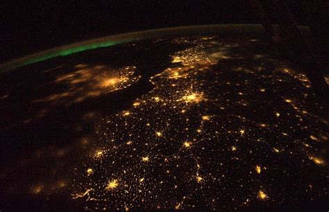 Space Lights by Earth At From Space Station Me