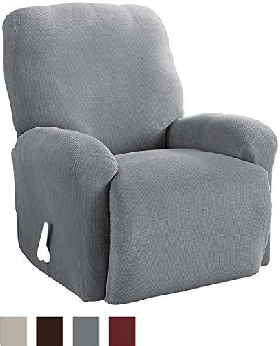 recliner slipcover gray serta 4 piece stretch grid recliner slipcover gray home