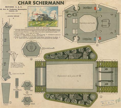 printable paper tank models char schermann sherman tank paper toy paris 1945
