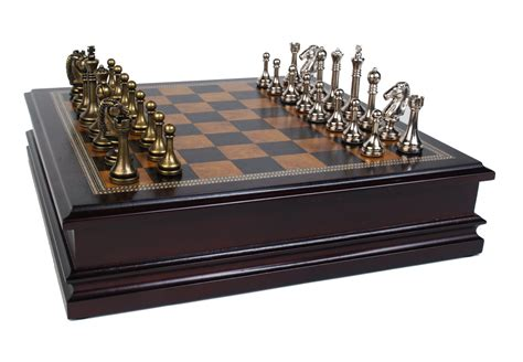metal chess set metal chess set with deluxe wood board and storage 2 5