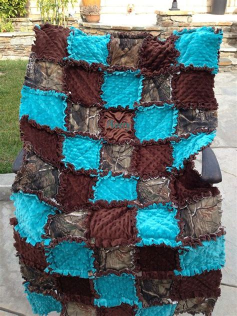 Teal Camo Bedding by Custom Made Rag Quilt Bag And Quilt For Baby Boy Or