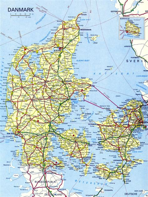 road map with cities maps of denmark detailed map of denmark in