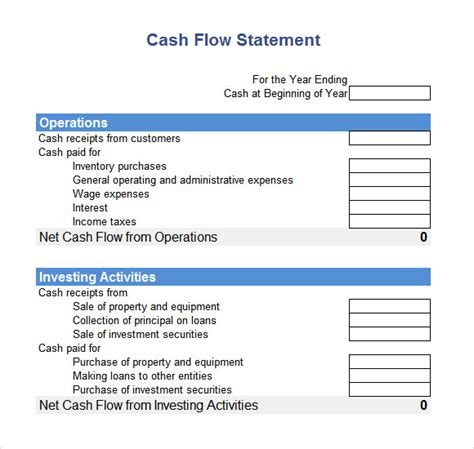 cash flow statement format excel indirect method cash flow statement 9 free sles exles format