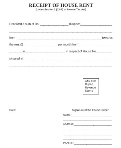 house rent receipt sle 7 exles in word pdf