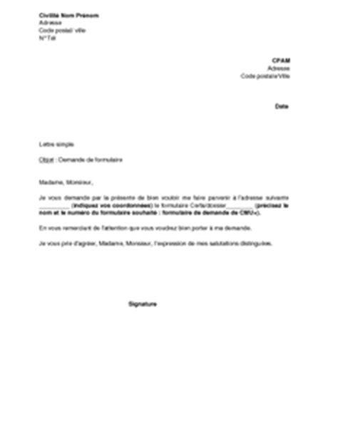 Exemple gratuit de Lettre demande envoi formulaire ou