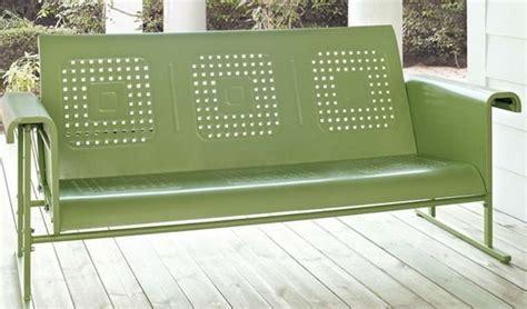 retro metal glider sofa outdoor room ideas