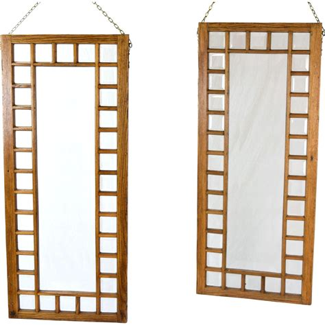 glass room divider pair antique oak framed beveled glass windows hanging room