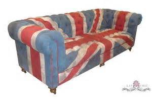 union jack chesterfield sofa handprinted muted red blue and ivory union jack by