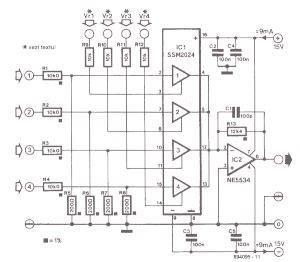 Mixer Audio Sederhana rangkaian audio mixer gambar skema rangkaian elektronika