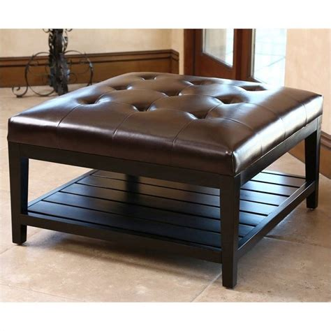 Square Leather Coffee Table Abbyson Living Villagio Square Leather Ottoman Coffee Table In Brown Hs Ot 145 Brn