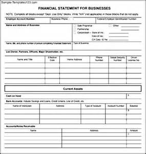 business financial statement template business financial statement form pdf sle templates