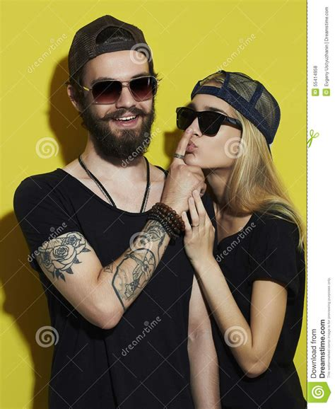 tattooed bearded couple beautiful couple together tattoo hipster boy and girl