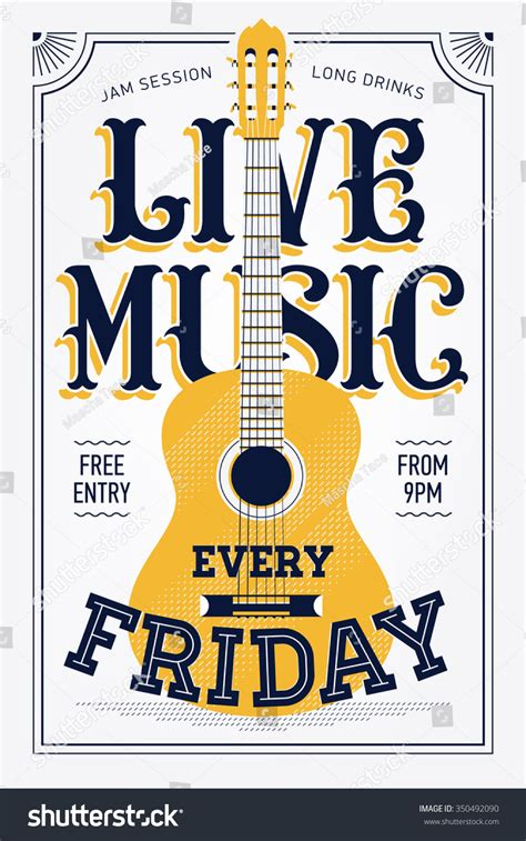 printable music poster vintage live music every friday vector stock vector