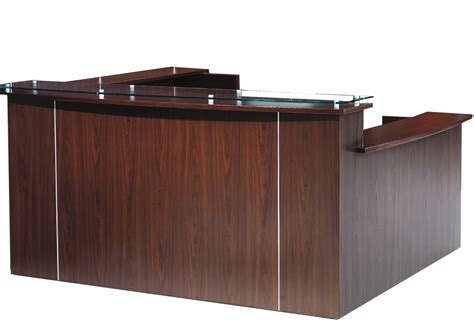 Counter Reception Desk Multi Level Glass Top Custom U Reception Desk W Right Low