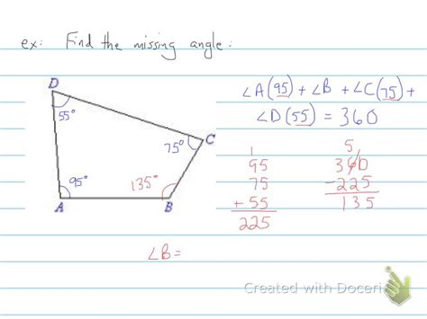 finding the missing angle in quadrilaterals 6th grade