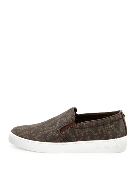 michael shoes lyst michael michael kors keaton slip on sneaker in brown