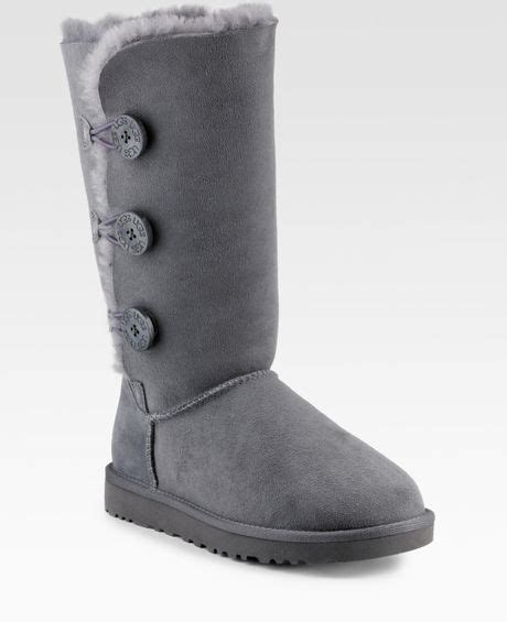 ugg bailey button triplet sheepskin boots in gray