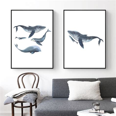 Poster Set Tangled 3x 30x40cm watercolor whales canvas print luxzura