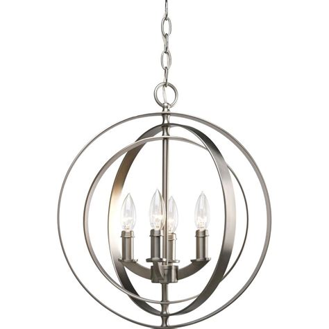 Pendant Light For Entryway Progress Lighting Equinox Collection 4 Light Burnished Silver Foyer Pendant P3827 126 The Home