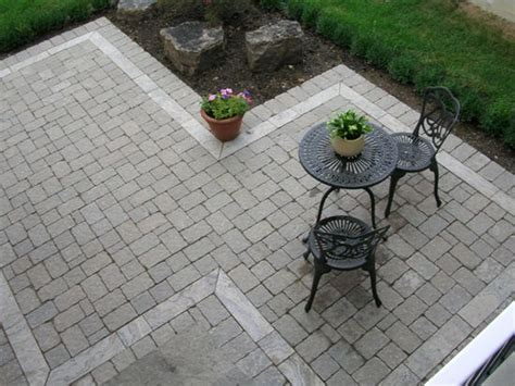 interesting patio shape to get around existing trees