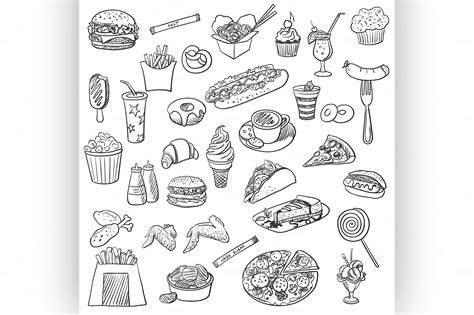 food doodle brush doodle icon fast food icons on creative market