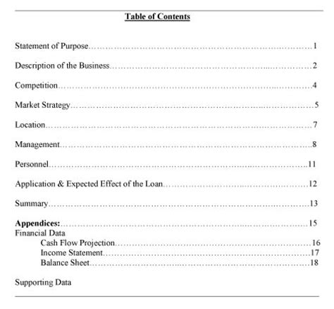 table of contents business plan template images