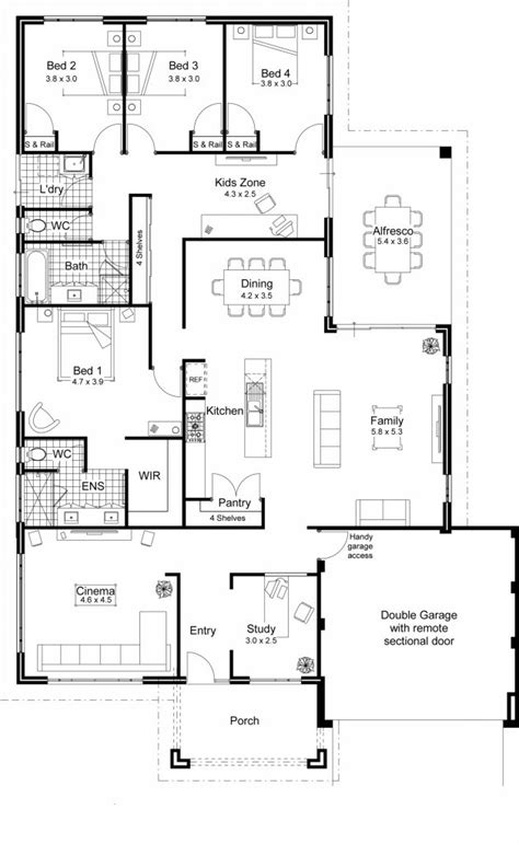 Contemporary Homes Floor Plans by 4 Bedroom House Plans Home Designs Celebration Homes