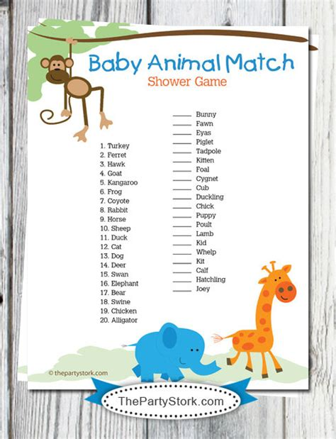 printable baby animal quiz safari baby shower games printable baby animal match game
