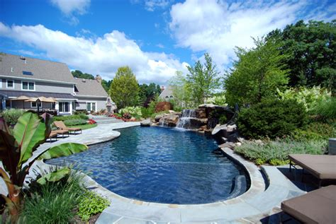 landscaped backyards with pools backyard swimming pools waterfalls natural landscaping nj