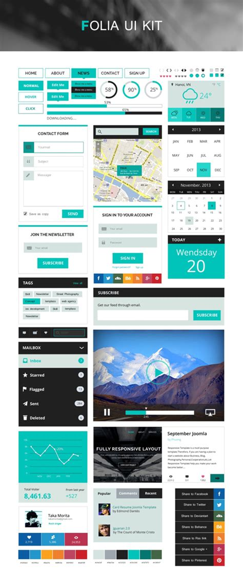 Free Flat Psd Templates And Web Elements For Ui Design Freebies Graphic Design Junction Website Ui Design Templates