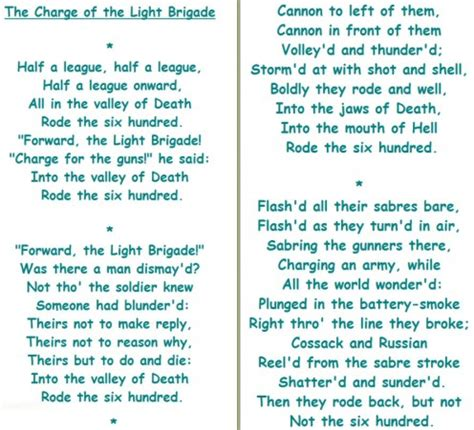 charge of the light brigade analysis tennyson and the charge of the light brigade poetry