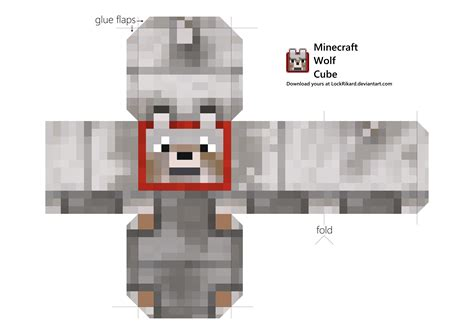 Minecraft Papercraft Wolf - wolf cube papercraft by lockrikard on deviantart