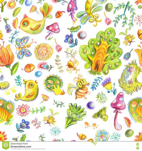 pattern nature colorful colorful color pencils forest stock illustration image