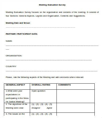 conference survey template meeting survey templates 10 free word excel pdf
