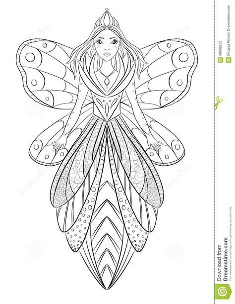 Art Therapy Coloring Page Illustration Of A Flower Fairy